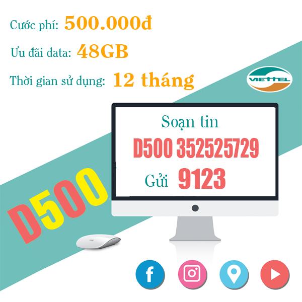 D500 Viettel – Gói ưu đãi khủng 4GB Data mỗi tháng trong 1 năm
