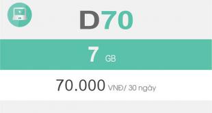 Đăng ký D70 Viettel chỉ với 70.000 đồng