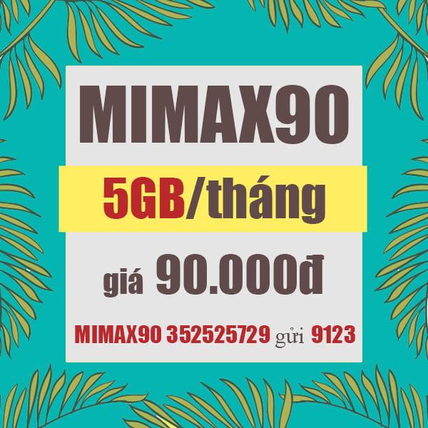 Đăng ký gói Mimax90 Viettel ưu đãi 5GB Data 4G giá rẻ 90.000đ