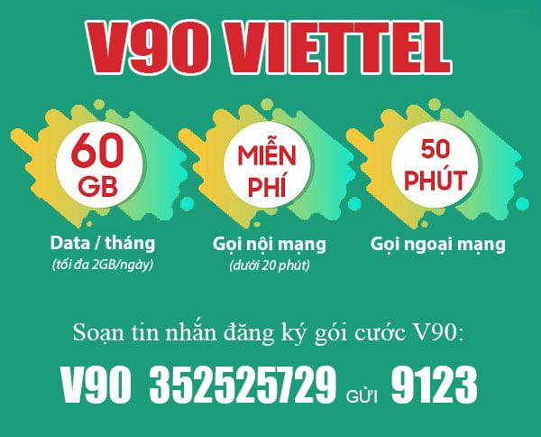 Đăng ký gói V90 Viettel 2GB 1 ngày & Miễn phí cuộc g