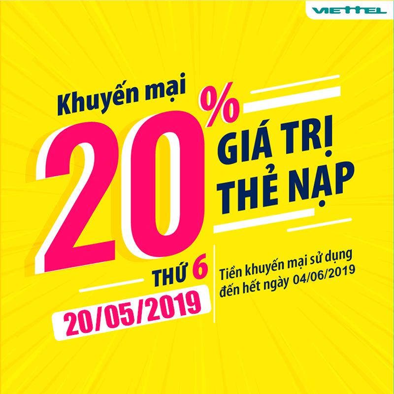 Chương trình khuyến mãi của Viettel tặng 20% giá trị ngày 20/05/2019