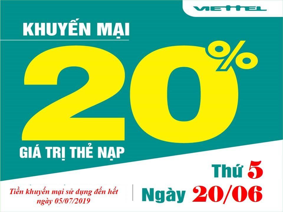 Khuyến mãi Viettel tặng 20% giá trị thẻ nạp 20/06/2019