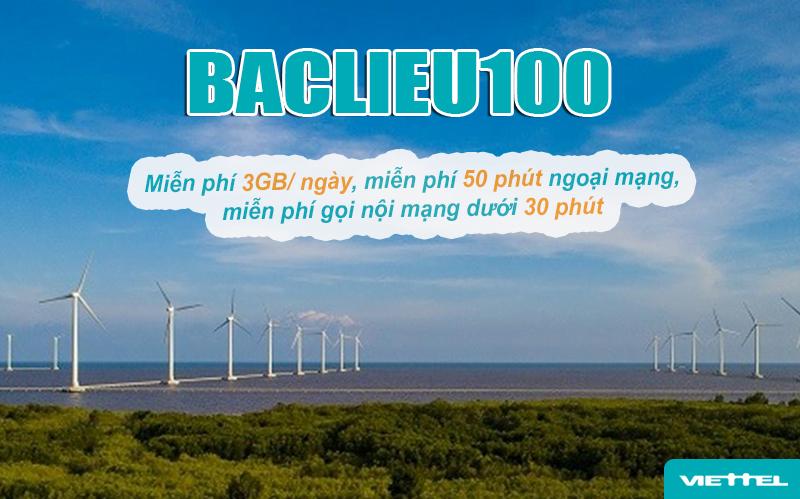 Gói Baclieu100 Viettel ưu đãi khủng mỗi tháng