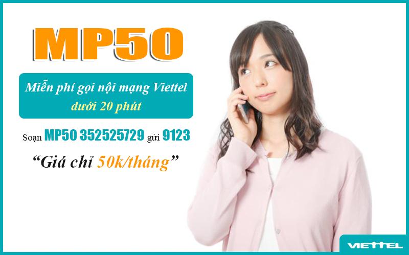 Gói MP50 Viettel, miễn phí gọi nội mạng dưới 20 phút