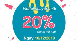 Khuyến mãi Viettel tặng 20% giá trị thẻ nạp 10/12/2019