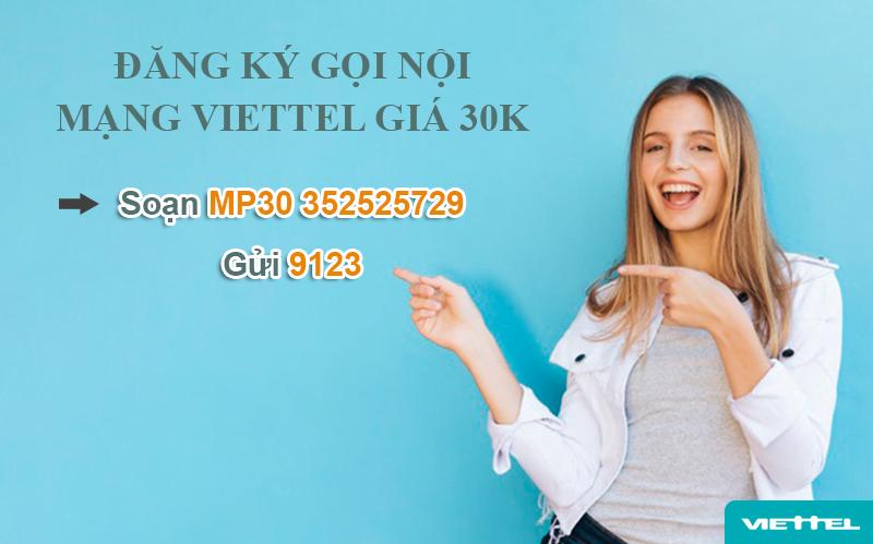 Gói cước gọi nội mạng Viettel giá 30k
