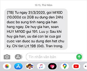 Tin nhắn thông báo bổ sung tính năng gia hạn tự động gói MI10D từ 31/03/2020