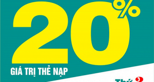 Ngày 10/03/2020, Viettel khuyến mãi 20% cho thuê bao trả trước