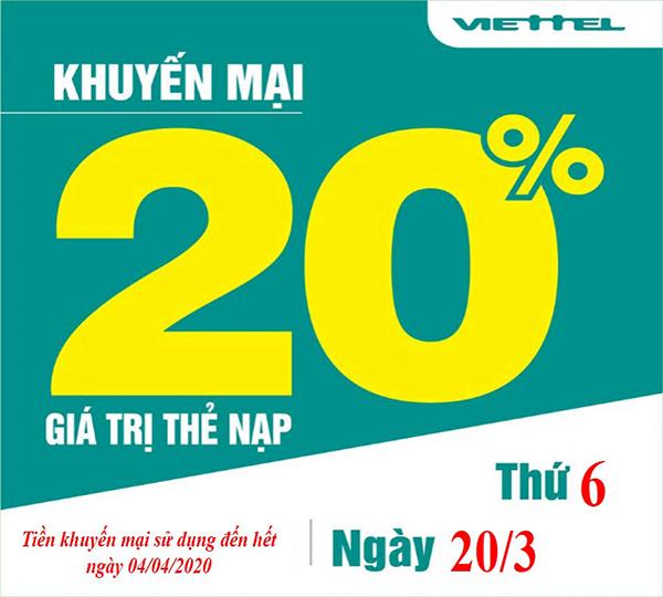 Ngày 20/03/2020, Viettel khuyến mãi 20% giá trị thẻ nạp