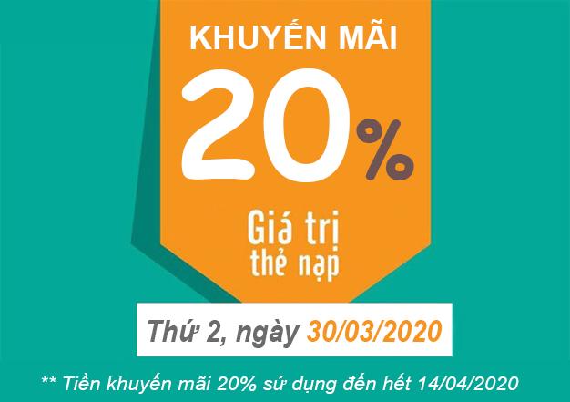 Ngày 30/03/2020, Viettel khuyến mãi 20% giá trị thẻ nạp
