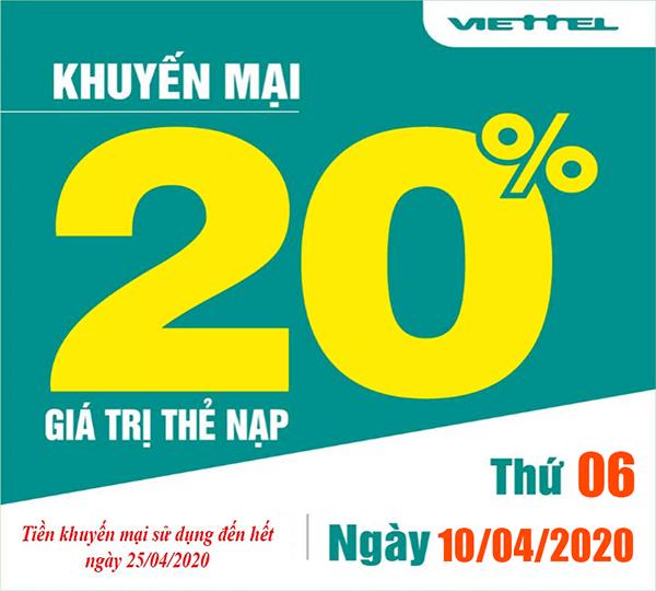 Ngày 10/04/2020, Viettel khuyến mãi 20% giá trị thẻ nạp