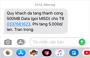 Nội dung tin nhắn thông bao cho thuê bao tặng gói MI5D Viettel