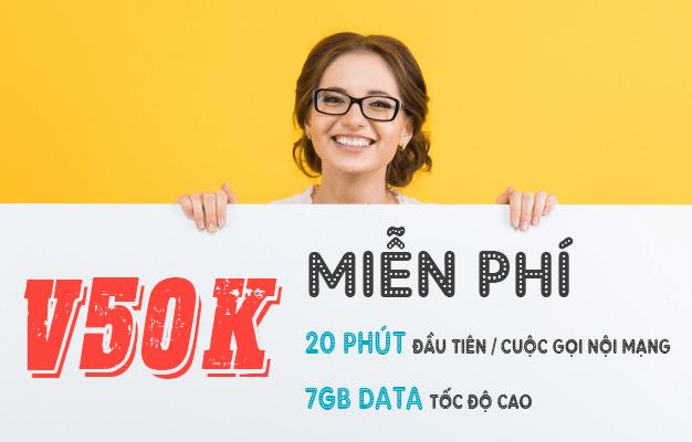 Đăng ký gói V50K Viettel miễn phí 7GB + Gọi nội mạng miễn phí dưới 20 phút