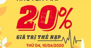 Ngày 10/06/2020, Viettel khuyến mãi 20% giá trị trên toàn quốc