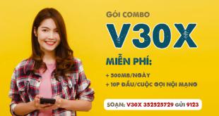 Đăng ký gói V30X Viettel miễn phí gọi nội mạng và 500MB/ngày trong 7 ngày