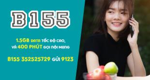 Gói B155 Viettel miễn phí 1.5GB & 400 phút gọi nội mạng/tháng