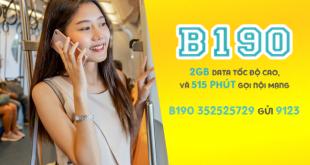 Gói B190 Viettel miễn phí 2GB & 515 phút gọi nội mạng/tháng