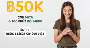 Gói B50K Viettel miễn phí 300 phút nội mạng & 2GB Data/tháng