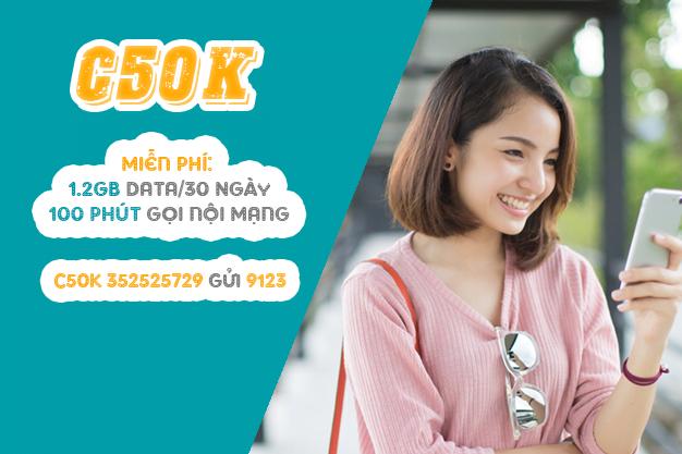 Gói C50K Viettel miễn phí 100 phút gọi nội mạng & 1.2GB Data
