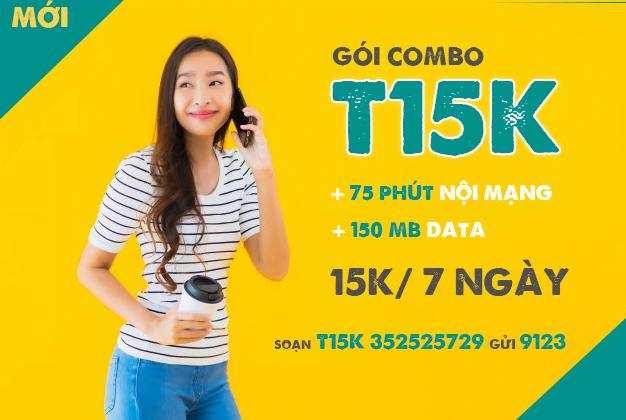 Đăng ký gói T15K Viettel miễn phí 75 phút nội mạng & 150MB Data