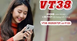 Gói VT38 Viettel miễn phí 830MB & 83 phút gọi nội mạng/tháng