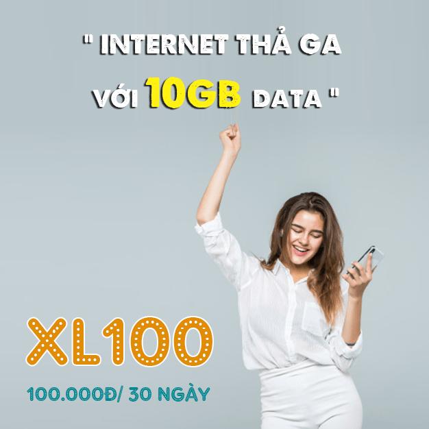 Gói XL100 Viettel miễn phí 10GB truy cập internet thả ga