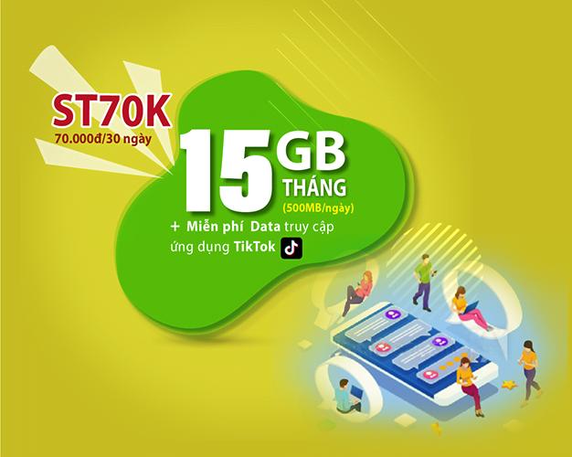 Gói ST70K Viettel miễn phí Data TikTok & 500MB/ngày giá rẻ chỉ 70k