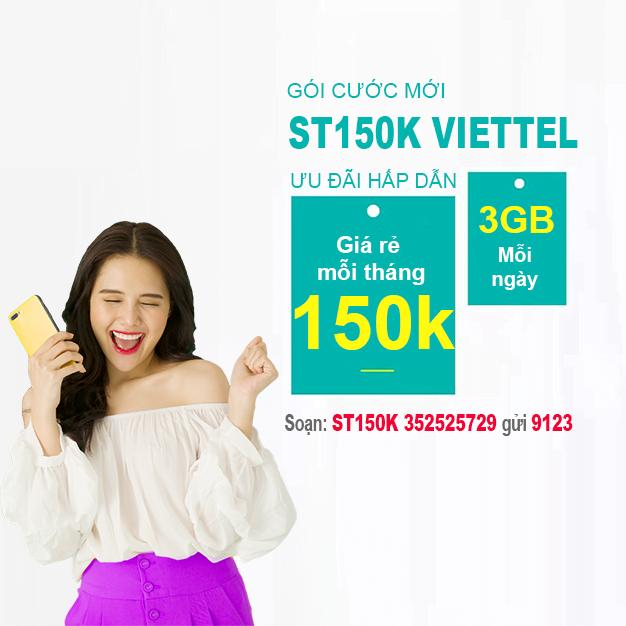 Cách đăng ký gói ST150K Viettel có 3GB/ngày & Miễn phí Data Viettel TV