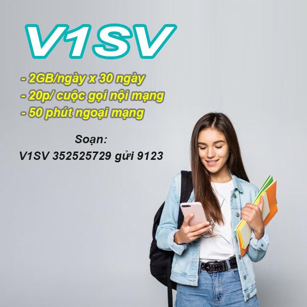 Gói V1SV Viettel miễn phí 2GB/ngày, 20 phút/cuộc gọi nội mạng