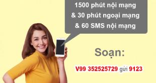Gói V99 Viettel miễn phí 1500 phút nội mạng, 60SMS nội mạng/tháng