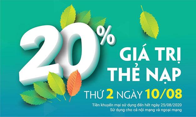 Ngày 10/08/2020, Viettel khuyến mãi 20% giá trị thẻ nạp toàn quốc