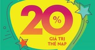 Ngày 20/08/2020, Viettel tặng 20% giá trị thẻ nạp cho khách hàng