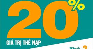 Ngày 31/08/2020, Viettel tặng 20% giá trị thẻ nạp toàn quốc