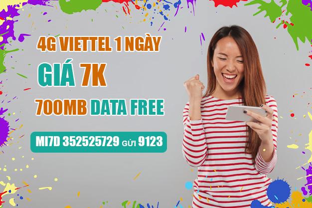 Cách đăng ký 2 gói 4G Viettel 1 ngày 7k ưu đãi 350MB, 700MB Data