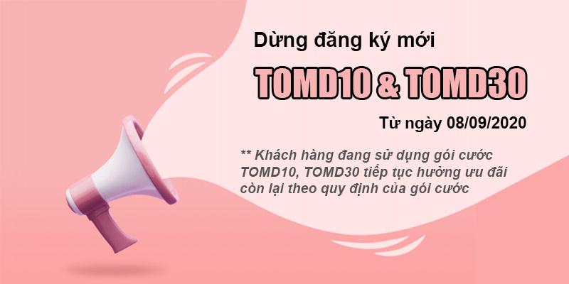Dừng gói 4G không giới hạn thời gian TOMD10, TOMD30 từ 08/09/2020