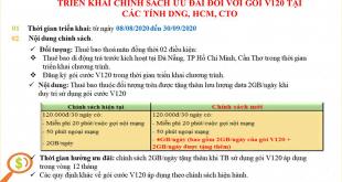 Tiếp tục nhân đôi Data gói V120 Viettel tại Đà Nẵng, HCM, Cần Thơ