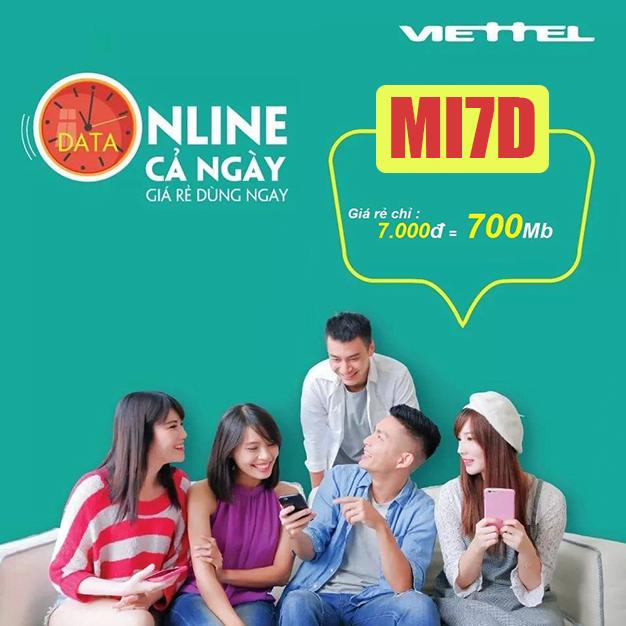 Gói Mi7D Viettel ưu đãi 700MB giá chỉ 7k