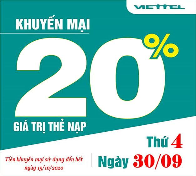 Ngày 30/09/2020, Viettel khuyến mãi tặng 20% giá trị thẻ nạp