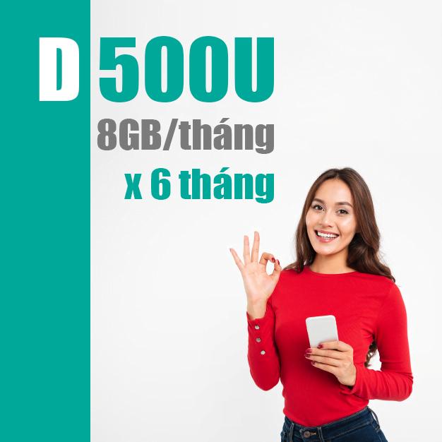 Gói D500U Viettel - Miễn phí 8GB/tháng x 6 tháng chỉ 500k