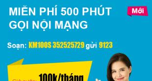 Đăng ký gói KM100S Viettel - Miễn phí 500 phút gọi nội mạng