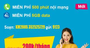 Gói KM200S Viettel – Miễn phí 500 phút nội mạng + 5GB Data