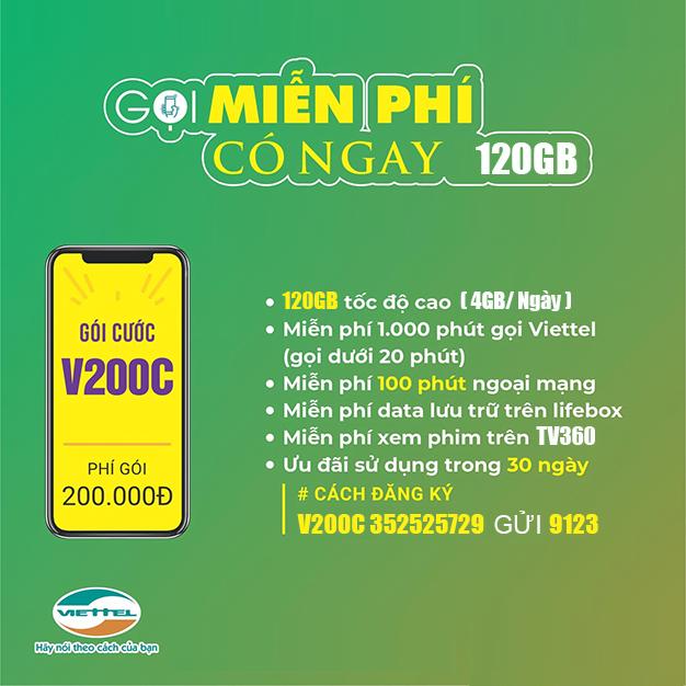 Đăng ký gói V200C Viettel có ngay 60GB, gọi nội mạng dưới 20 phút