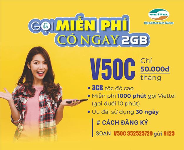 Đăng ký gói V50C Viettel có ngay 2GB, gọi nội mạng dưới 10 phút