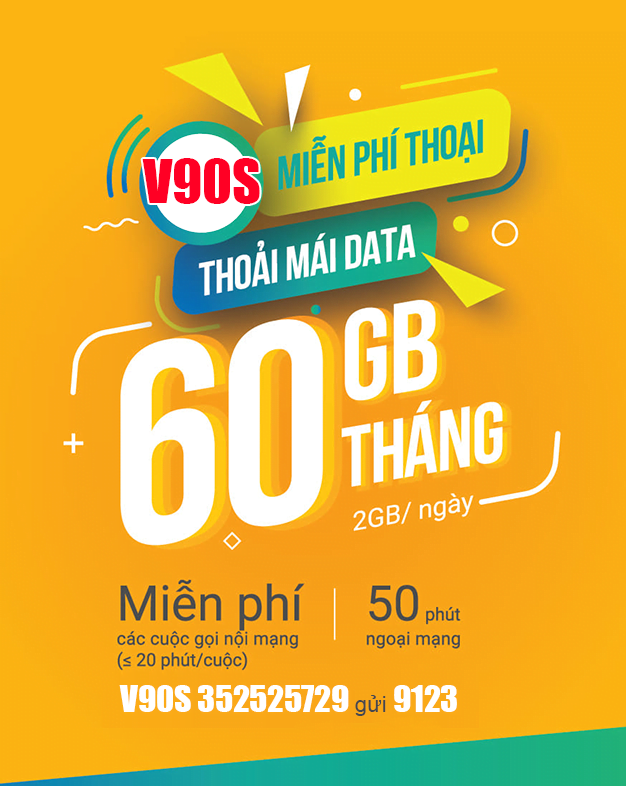 Gói V90S Viettel miễn phí 60GB và gọi nội mạng không giới hạn