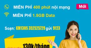 Gói KM130S Viettel – Miễn phí 400 phút nội mạng + 1.5GB Data
