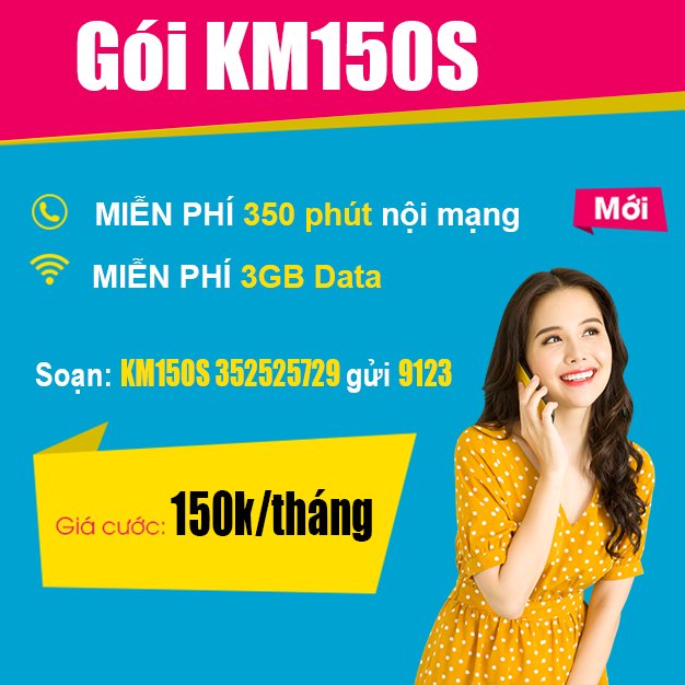 Gói KM150S Viettel - Miễn phí 350 phút nội mạng + 3GB Data
