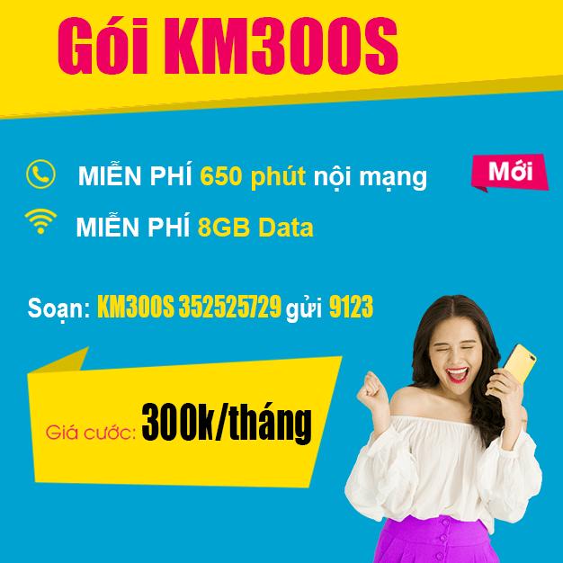 Đăng ký gói KM300S Viettel miễn phí 650 phút nội mạng & 8GB data