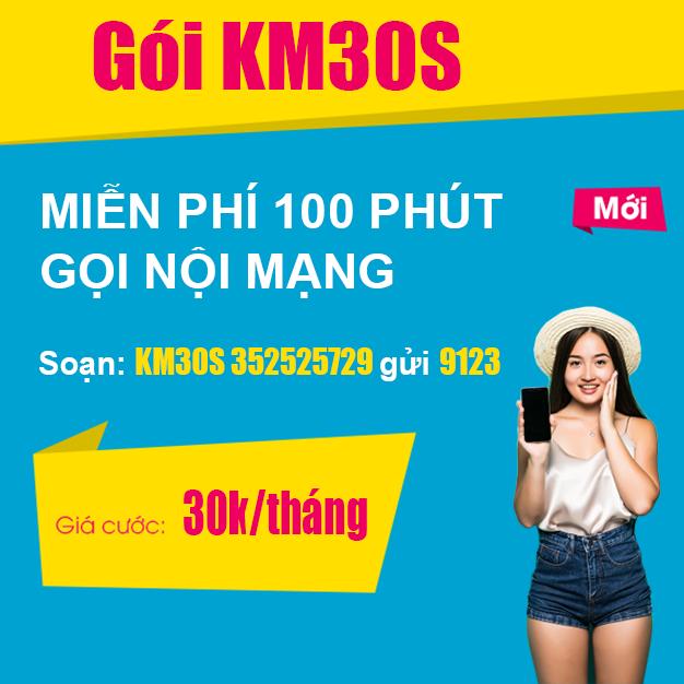 Gói KM30S Viettel - Miễn phí 100 phút gọi nội mạng Viettel