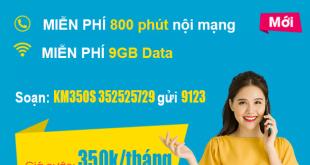 Gói KM350S Viettel miễn phí 800 phút nội mạng, 9GB, 200SMS