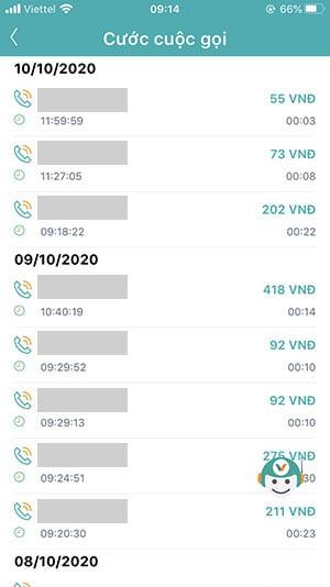 Danh sách các cuộc gọi đã thực hiện theo từng tháng